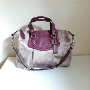 Coach Ashley Dotted Op Art Beige Purple Satchel
